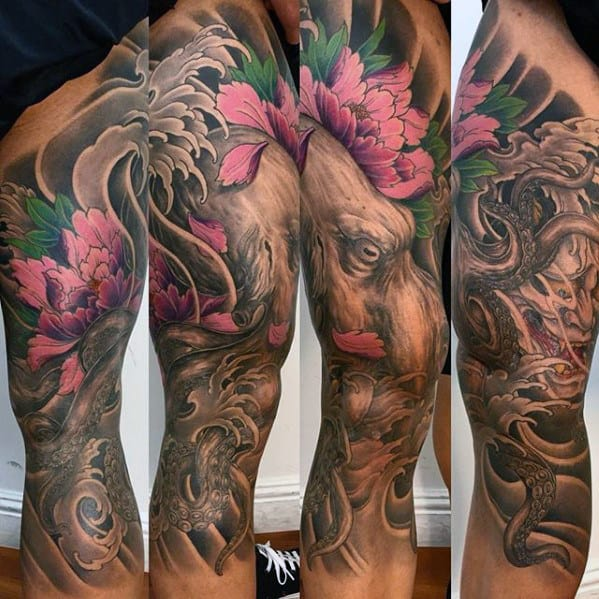 Shaded Black And Grey Japanese Octopus With Pink Flowers Mens Leg Sleeve Tattoo
