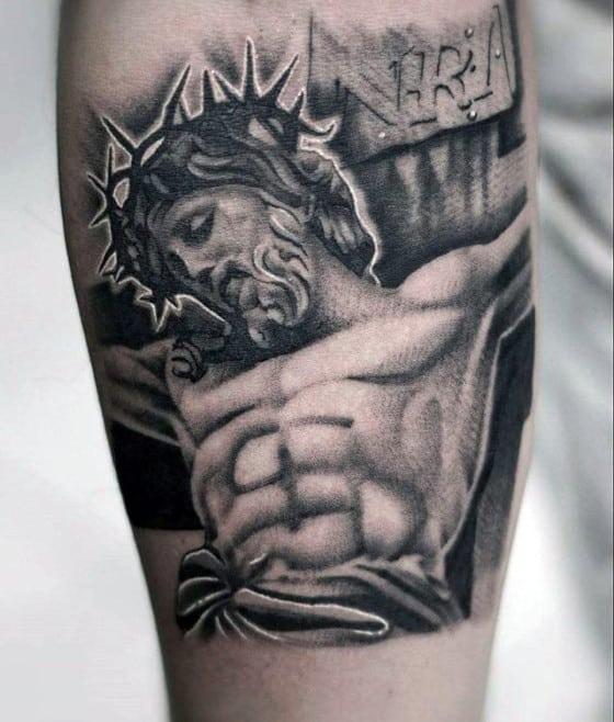Shaded Black And Grey Jesus Cross Guys Tattoo On Forearm