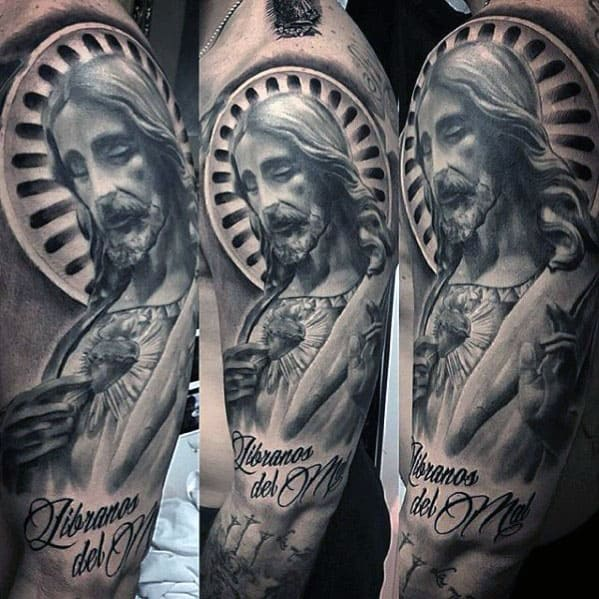 Shaded Black And Grey Jesus Sleeve Tattoo Ideas For Men