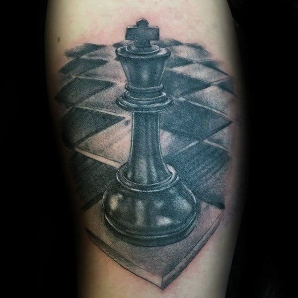 Shaded Black And Grey King Chess Piece Guys Arm Tattoo Ideas