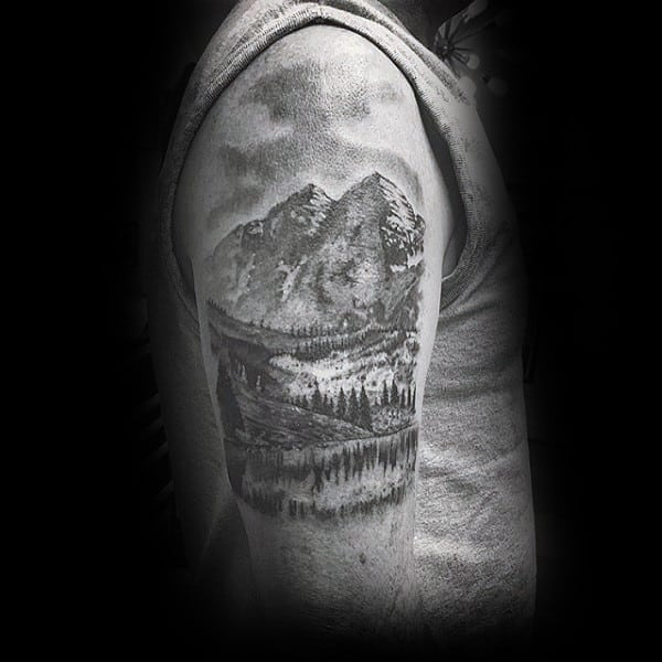 Shaded Black And Grey Landscape Upper Arm Tattoo On Gentleman