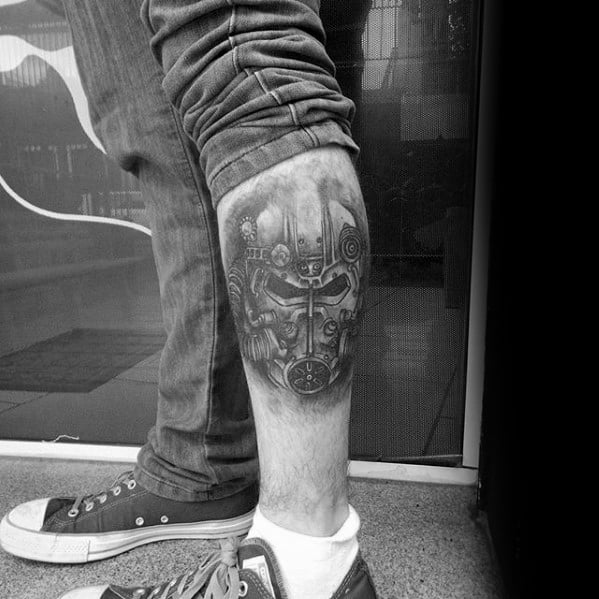Shaded Black And Grey Leg Fallout Male Tattoo Ideas
