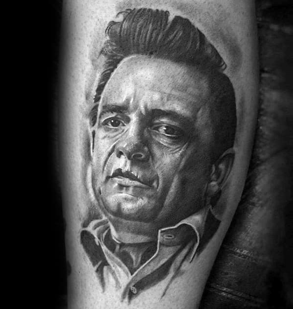 Shaded Black And Grey Leg Johnny Cash Male Tattoo Ideas