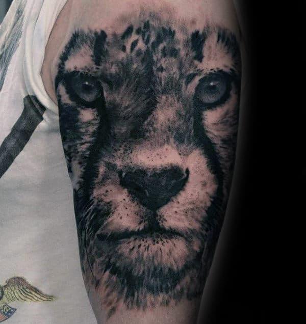Shaded Black And Grey Leopard Head Mens Half Sleeve Tattoos