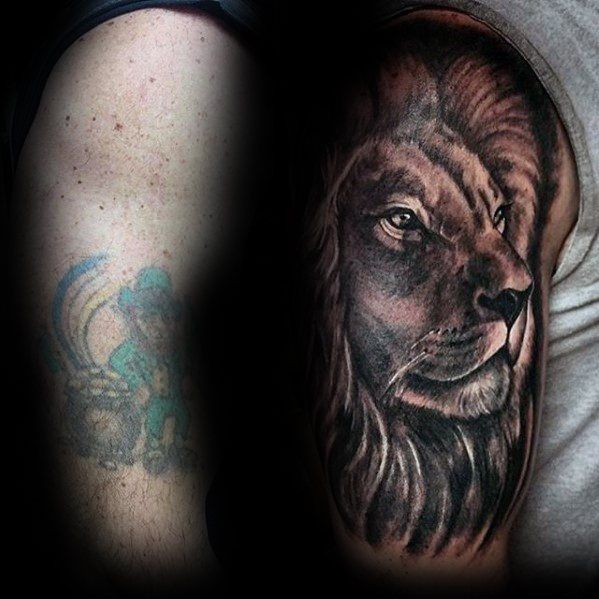 Shaded Black And Grey Lion Mens Arm Tattoo Cover Up Ideas
