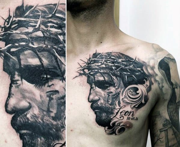 Shaded Black And Grey Male 3d Jesus Chest Tattoo Ideas
