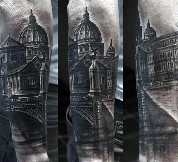 Shaded Black And Grey Male Bridge Forearm Sleeve Tattoo Design Ideas