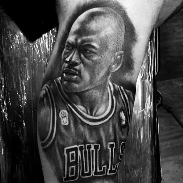 Shaded Black And Grey Male Mj Michael Jordan Tattoo Ideas On Arm