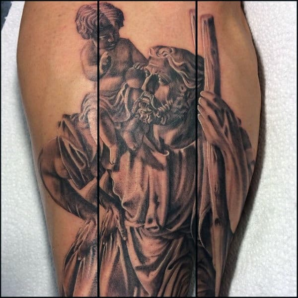 Shaded Black And Grey Male Saint Christopher Leg Calf Tattoo Ideas