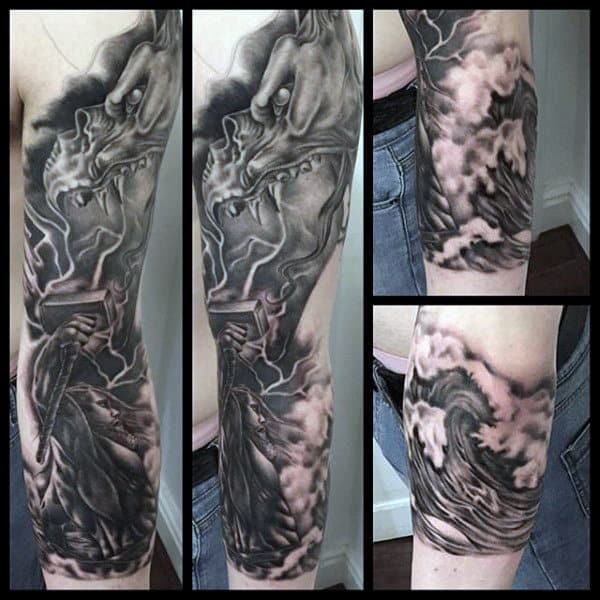 Shaded Black And Grey Manly Mjolnir Mens Sleeve Tattoos