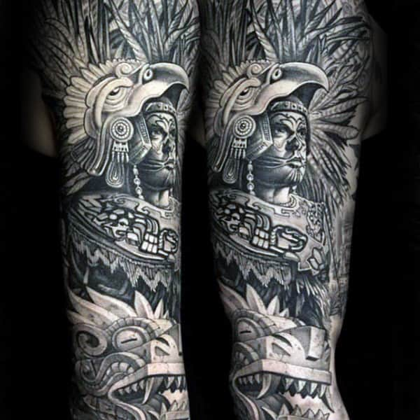 Shaded Black And Grey Mayan Male Full Sleeve Tattoos