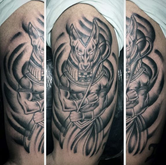 Shaded Black And Grey Mens Anubis Upper Arm Tattoo