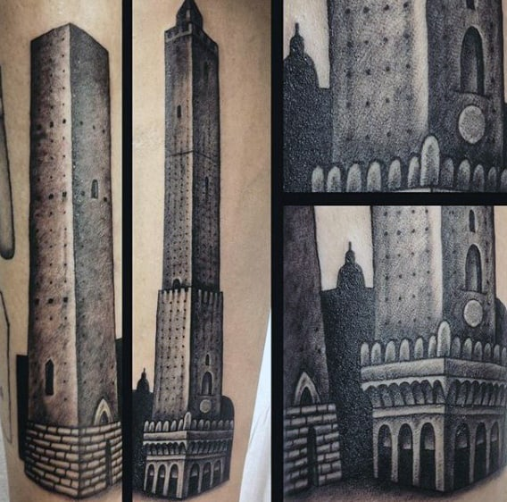 Shaded Black And Grey Mens Building Forearm Tattoos