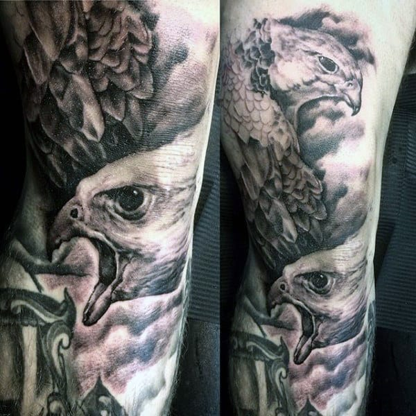 Shaded Black And Grey Mens Falcon Leg Tattoo Designs