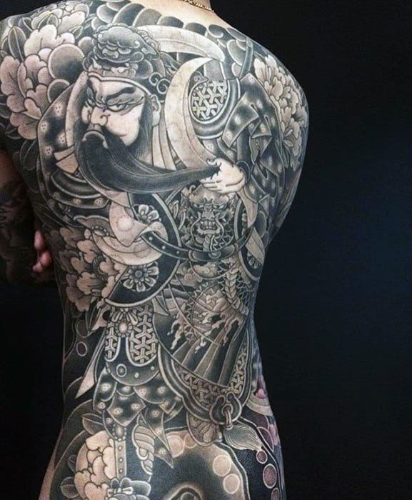 Shaded Black And Grey Mens Japanese Full Back Tattoo Designs
