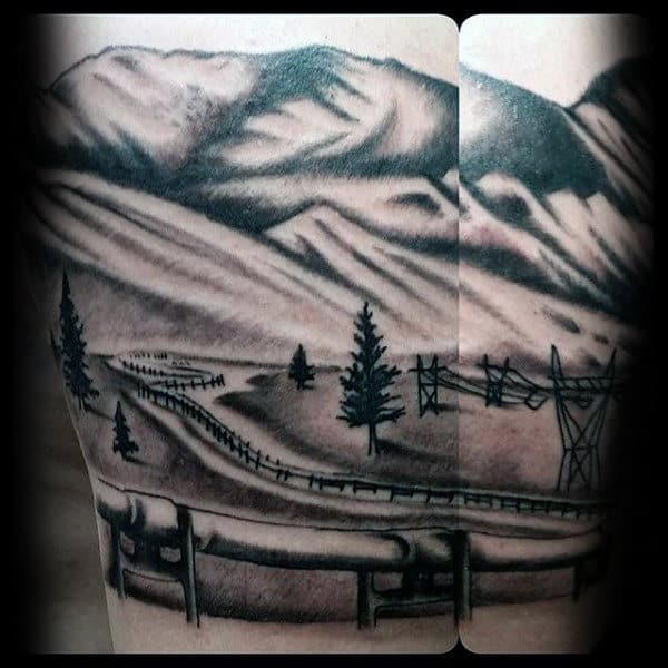 Shaded Black And Grey Mens Oilfield Landscape Tattoo Ideas On Arm