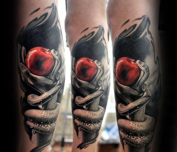 Shaded Black And Grey Mens Snake With Red Apple Leg Tattoos