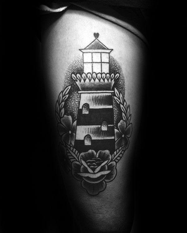 40 Traditional Lighthouse Tattoo Designs For Men Old School
