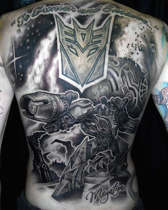 Shaded Black And Grey Mens Transformers Themed Tattoo On Back