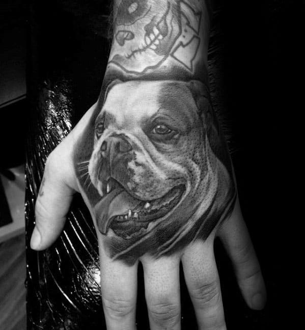 Shaded Black And Grey Realistic Bulldog Hand Tattoo Ideas For Men