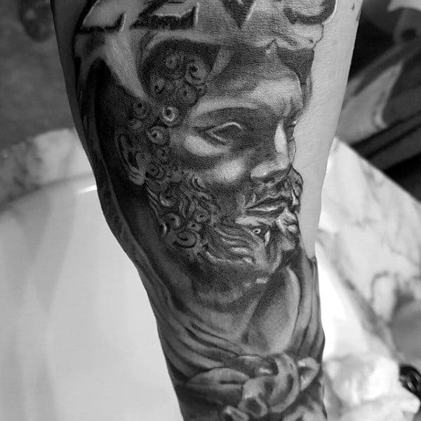 Shaded Black And Grey Roman Hercules Male Tattoo Ideas On Arm