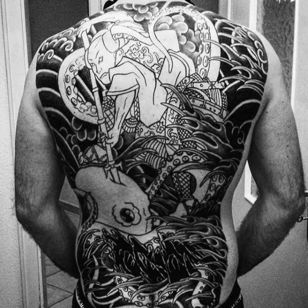 Shaded Black And Grey Sailor Attacking Octopus Male Japanese Full Back Tattoos