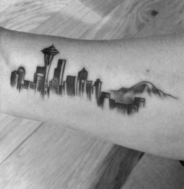 Shaded Black And Grey Seattle Skyline Small Mens Inner Forearm Tattoos