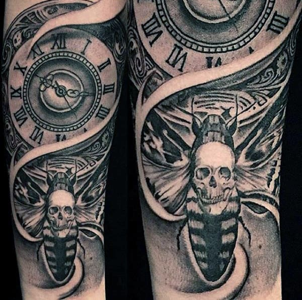Shaded Black And Grey Skull Moth With Clock Mens Forearm Sleeve Tattoos