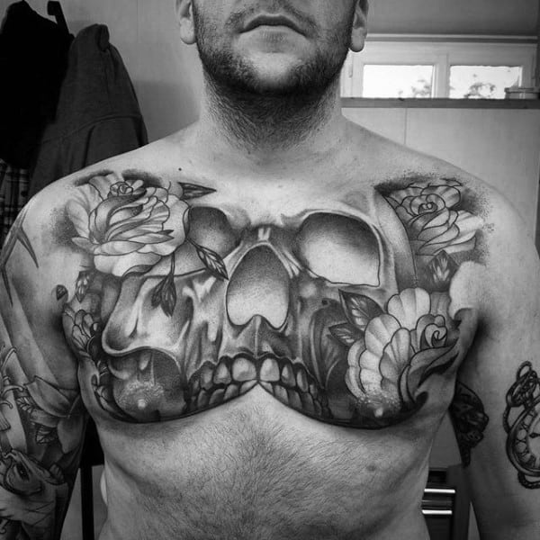 Shaded Black And Grey Skull Upper Chest Tattoos For Males