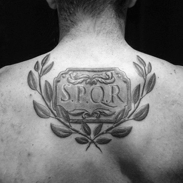 Shaded Black And Grey Spqr Senatus Populusque Romanus Mens Upper Back Tattoo