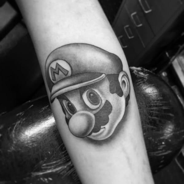 Shaded Black And Grey Tattoo Ideas Mario Head