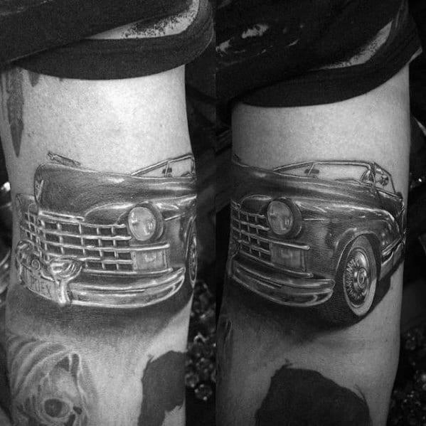 Shaded Black And Grey Tattoo Of Cadillac Car On Gentleman