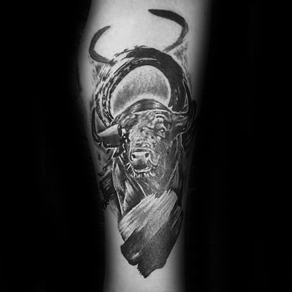 Shaded Black And Grey Taurus Symbol Mens Bull Tattoo Inspiration On Forearm