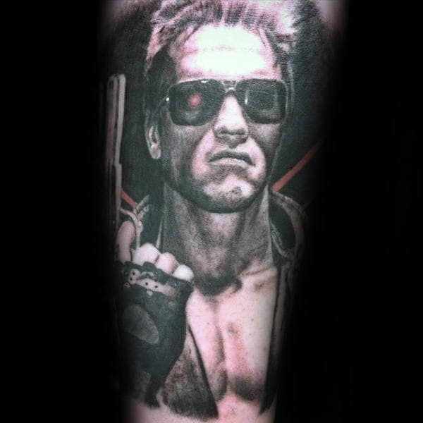 Shaded Black And Grey Terminator Tattoo On Male