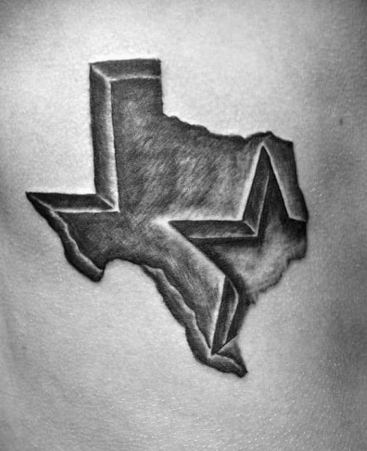 Shaded Black And Grey Texas With Star Mens Chest Tattoos