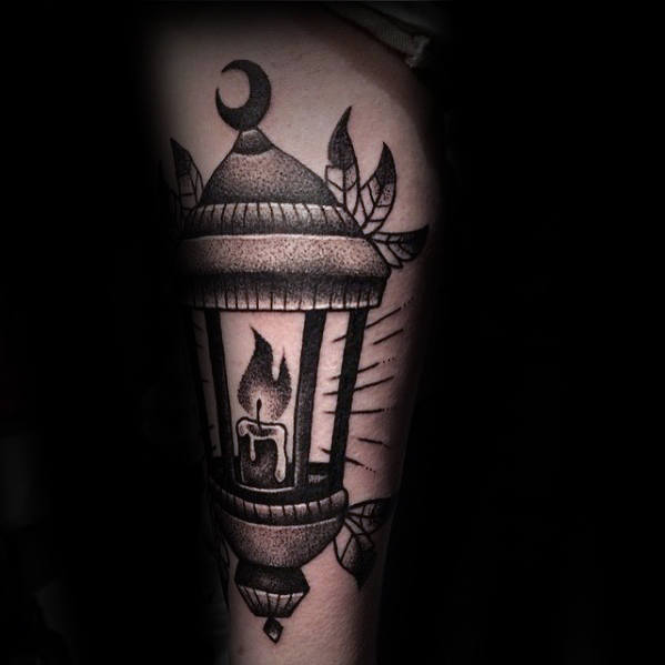 Shaded Black And Grey Traditional Lantern Thigh Tattoo For Men