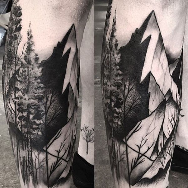 Shaded Black And Grey Tree Sleeve Tattoo For Men With Mountain Designs