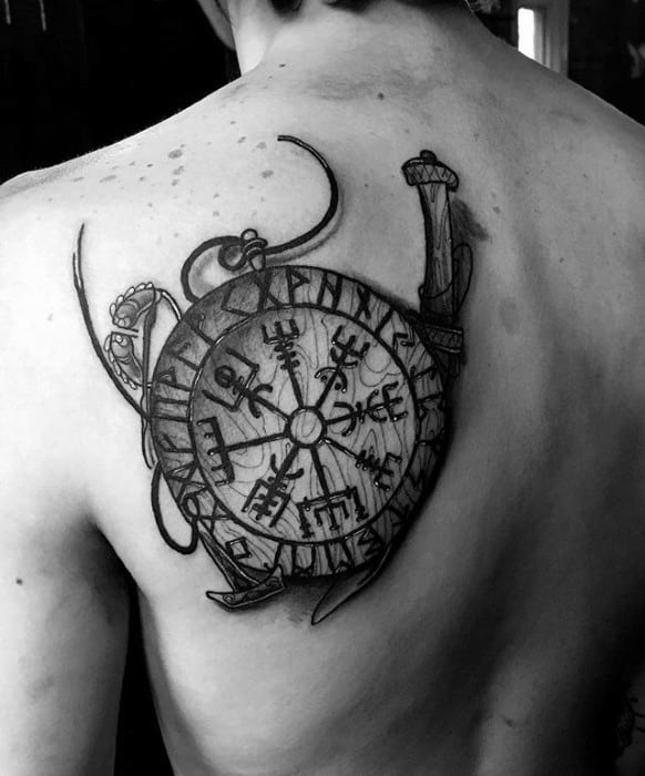 Shaded Black And Grey Viking Compass Shoulder Blade Tattoo For Men