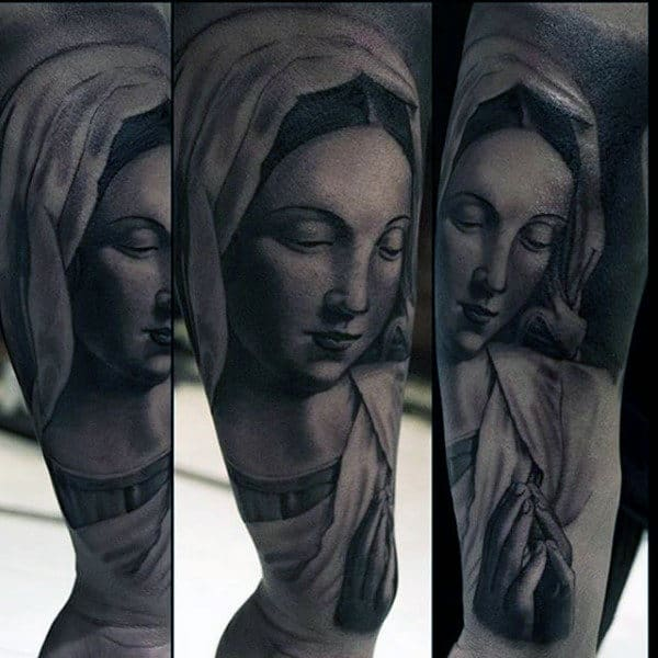 Shaded Black And Grey Virgin Mary Tattoo On Gentleman