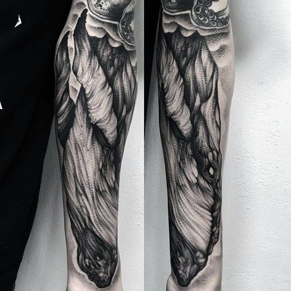 Shaded Black And Grey Whale Mens Forearm Sleeve Tattoos