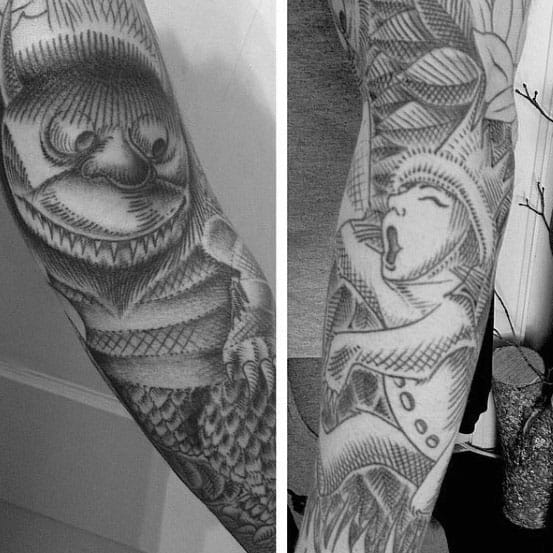 Shaded Black And Grey Where The Wild Things Are Male Sleeve Tattoo Inspiration