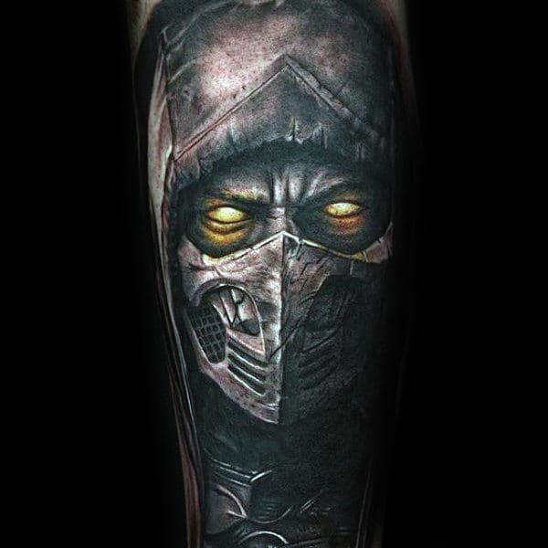 Shaded Black And Grey With Glowing Yellow Eyes Mens Mortal Komba Tattoo Sleeve