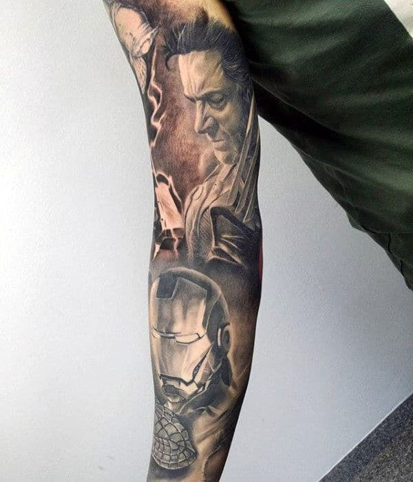 Shaded Black And Grey Wolverine Mens Sleeve Tattoo