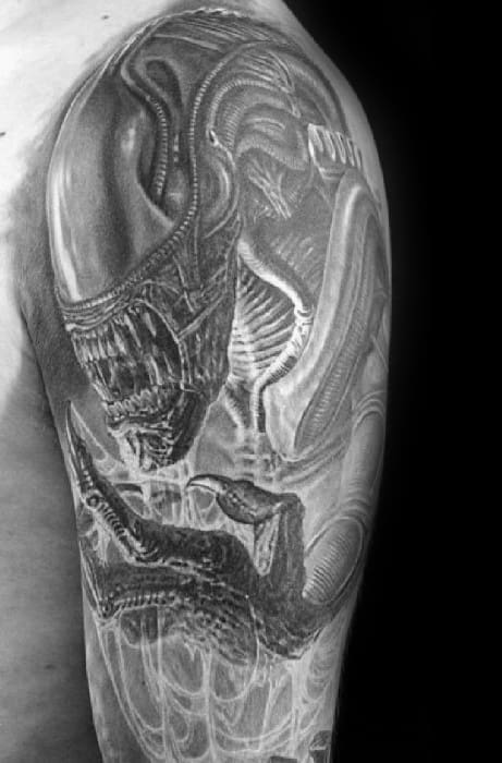 Shaded Black And Grey Xenomorph Tattoo Design Ideas For Males