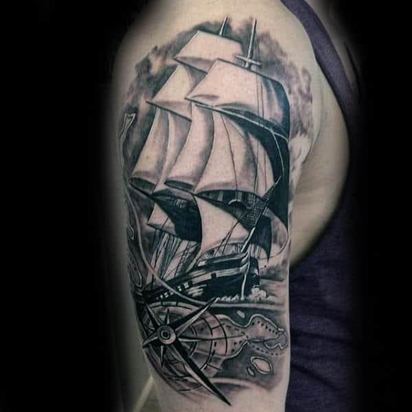Shaded Black And White Ink Nauticalhandguys Upper Arm Sailing Ship Tattoo Designs