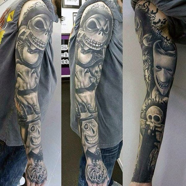 Shaded Black Ink Amazing Guys Night Before Christmas Tattoo Sleeves