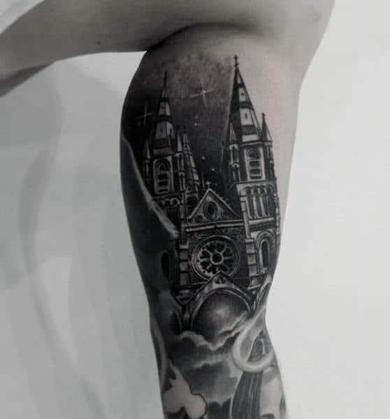 Shaded Black Ink Badass Church Night Sky Mens Sleeve Tattoos