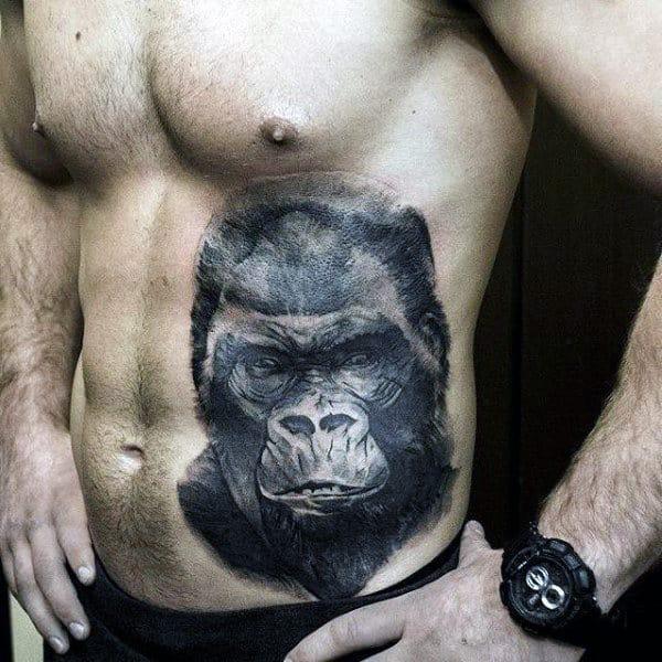 Shaded Black Ink Guys Insane Gorilla Face Tattoo On Rib Cage Side