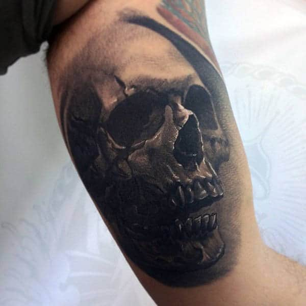 Shaded Black Ink Inner Arm 3d Skull Guys Tattoos