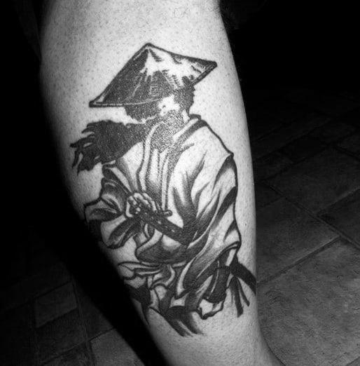 Shaded Black Ink Male Ninja Leg Tattoos
